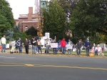 Protestors facing Central Ave 10/23